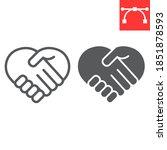 heart handshake line and glyph... | Shutterstock .eps vector #1851878593