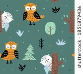 childish seamless pattern with... | Shutterstock . vector #1851879436