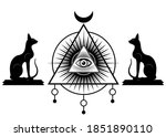 all seeing eye  the third eye...   Shutterstock .eps vector #1851890110