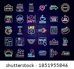neon signs icon set over purple ...   Shutterstock .eps vector #1851955846