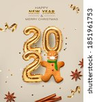 2021 golden decoration holiday... | Shutterstock .eps vector #1851961753