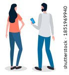 man and woman talking to each... | Shutterstock .eps vector #1851969940