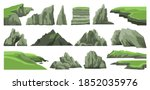 Set of rocks, hills, cliffs, mountains peaks and stones isolated on white background. Rocky landscape elements. Collection of cartoon vector illustrations.