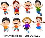 happy school kid cartoon | Shutterstock .eps vector #185205113
