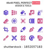 design and tools glyph icon set....