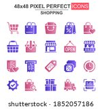 shopping glyph icon set....