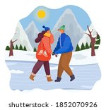 man and woman together in snow...   Shutterstock .eps vector #1852070926