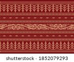 traditional red pattern of...