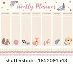 woodland calendar planner with...   Shutterstock .eps vector #1852084543