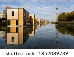 A Row Of Floating Homes Located ...