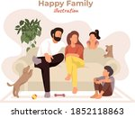 happy family sitting on the...   Shutterstock .eps vector #1852118863