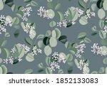 watercolor eucalyptus leaf... | Shutterstock .eps vector #1852133083