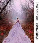 Small photo of Art fantasy beautiful woman queen walk in autumn mystic forest, orange leaves bare trees. Magic light divine glowing in gothic fog. Girl lady princess. Medieval purple dress long train. back rear view