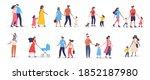bundle of walking families.... | Shutterstock .eps vector #1852187980
