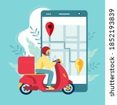 scooter with delivery man flat... | Shutterstock .eps vector #1852193839