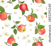 apple pattern with daisy ... | Shutterstock .eps vector #1852292140