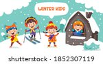 funny kids playing at winter | Shutterstock .eps vector #1852307119