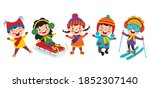 funny kids playing at winter | Shutterstock .eps vector #1852307140