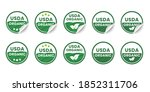 USDA organic certified icons. Set of realistic stickers with rolled up corners. Round organic certification labels with curled edges. Vector illustration