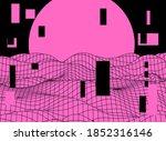 synthwave style retro landscape ... | Shutterstock .eps vector #1852316146