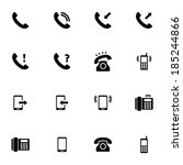 vector black telephone icons... | Shutterstock .eps vector #185244866