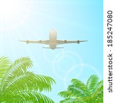 plane fly above the palms on... | Shutterstock . vector #185247080