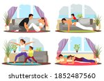 people exercising at home set....   Shutterstock .eps vector #1852487560