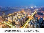 aerial view of city night | Shutterstock . vector #185249753