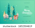 christmas banner with burning... | Shutterstock .eps vector #1852504819