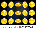3d Set Of Gold Coin Tokens In...