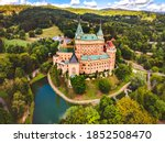 Aerial view of Bojnice medieval castle, UNESCO heritage in Slovakia Slovakia landscape travel. concept. Romantic castle.