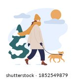 woman in warm clothes walking... | Shutterstock .eps vector #1852549879