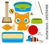 Stock vector vector cartoon adorable cat with different toys and elements 185256488