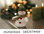 Snowman Toy On Table Against...