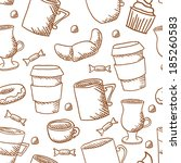 vector seamless coffee cups and ...   Shutterstock .eps vector #185260583