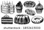 cakes and cream tarts  fruit... | Shutterstock .eps vector #1852615033