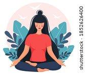girl in lotus position... | Shutterstock .eps vector #1852626400