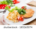 roasted meat with cauliflower... | Shutterstock . vector #185265074