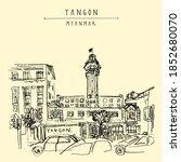 yangon  rangoon   myanmar ... | Shutterstock .eps vector #1852680070