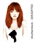 pretty girl with red hair | Shutterstock . vector #185269703