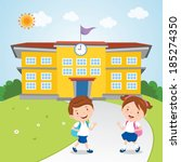 kids go to school. vector... | Shutterstock .eps vector #185274350