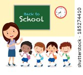 cheerful teacher and school... | Shutterstock .eps vector #185274410