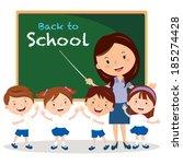teacher and school kids. vector ... | Shutterstock .eps vector #185274428