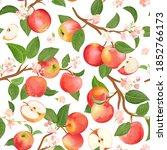 autumn apple seamless pattern.... | Shutterstock .eps vector #1852766173
