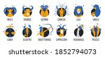 zodiac icons set. twelve close... | Shutterstock .eps vector #1852794073