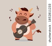 cow playing guitar. chinese new ...   Shutterstock .eps vector #1852811233