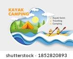 kayak camping. paper cut male... | Shutterstock .eps vector #1852820893