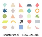 Geometric shape icon set. Colorful silhouette large collection basic figures isolated on white