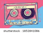 80s mix tape   colorful musical ... | Shutterstock .eps vector #1852841086
