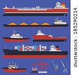 sea ships flat icons. cargo... | Shutterstock .eps vector #185290214